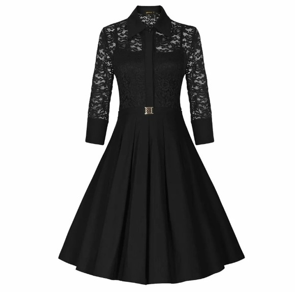 Nwt Miusol Black 1950s Style Black Lace Dress Nwt